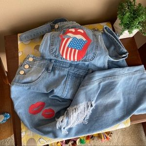 Rolling Stone inspired  distressed overalls size S